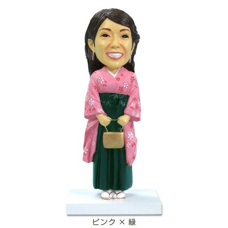 卒業記念フィギュア/女性袴・ピンク×緑
