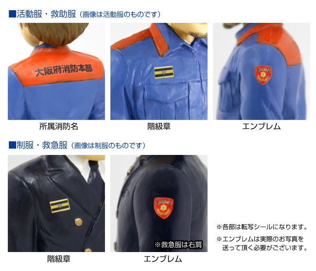 階級章、エンブレム、所属消防名のプリントサービス